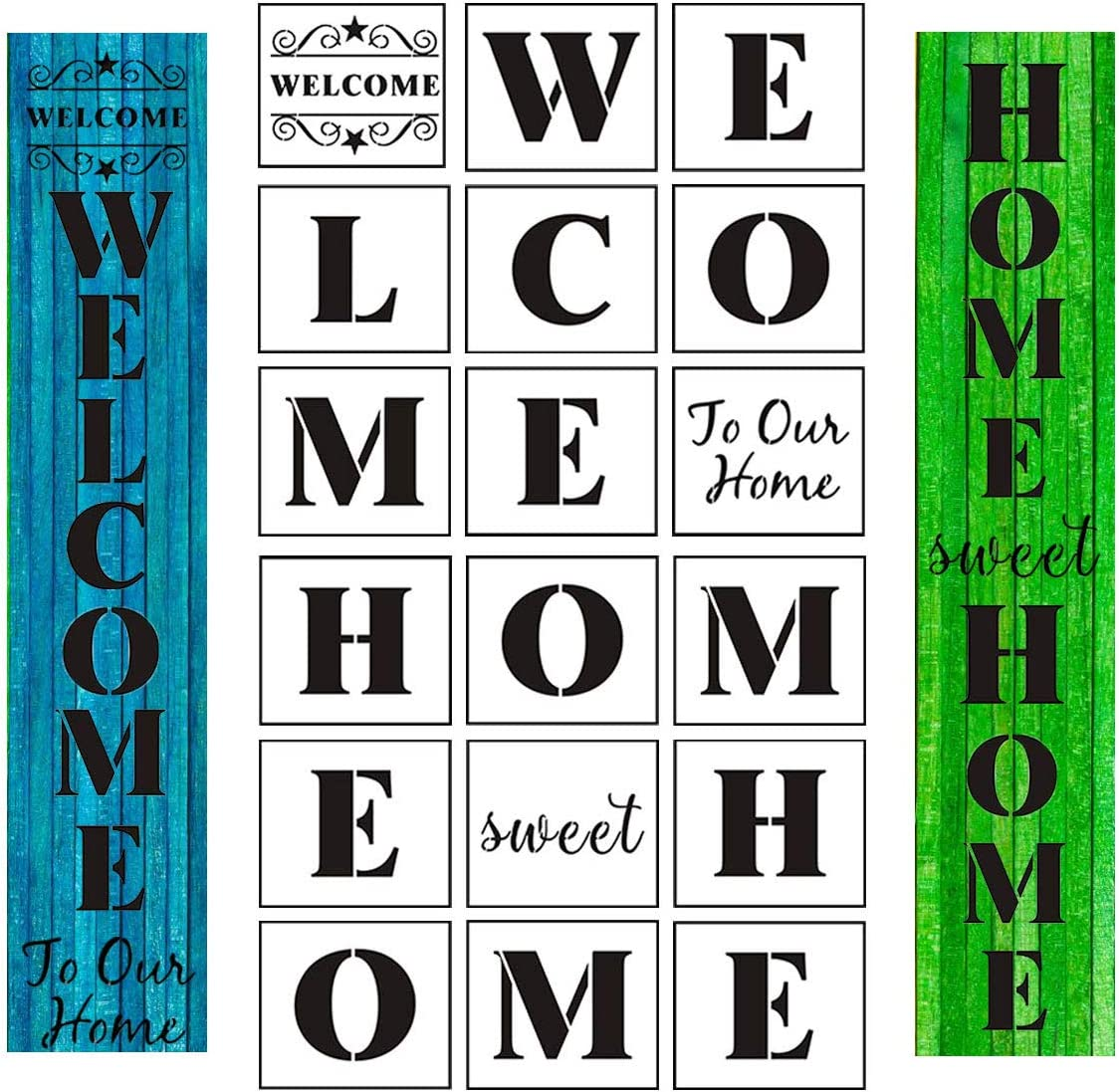 18 Pack Large Vertical Welcome and Home Sign Stencils Templates for Create Beautiful Wood Signs, Reusable Letter Stencils for Making a DIY Welcome Home Sign