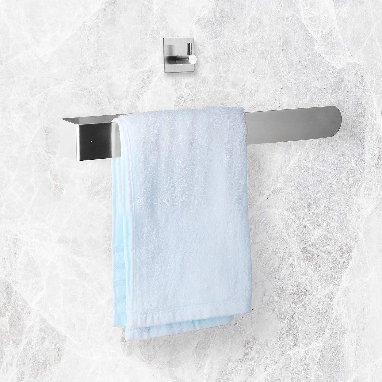 Toallero de acero inoxidable sin taladrar, 36,7 cm, soporte para toallas de baño y cocina con gancho