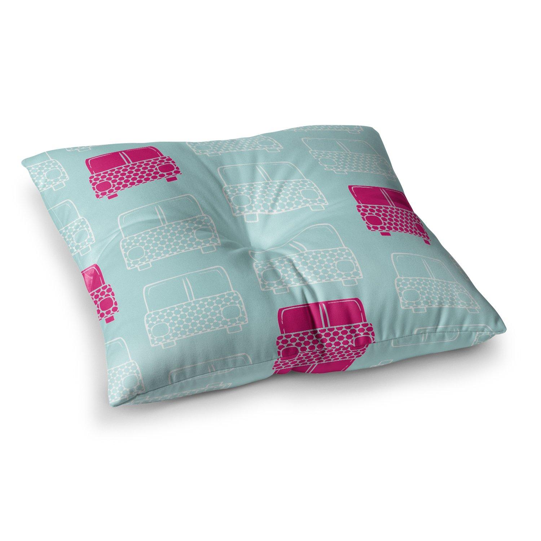 26 x 26 Square Floor Pillow Kess InHouse Michelle Drew Beep Magenta Aqua