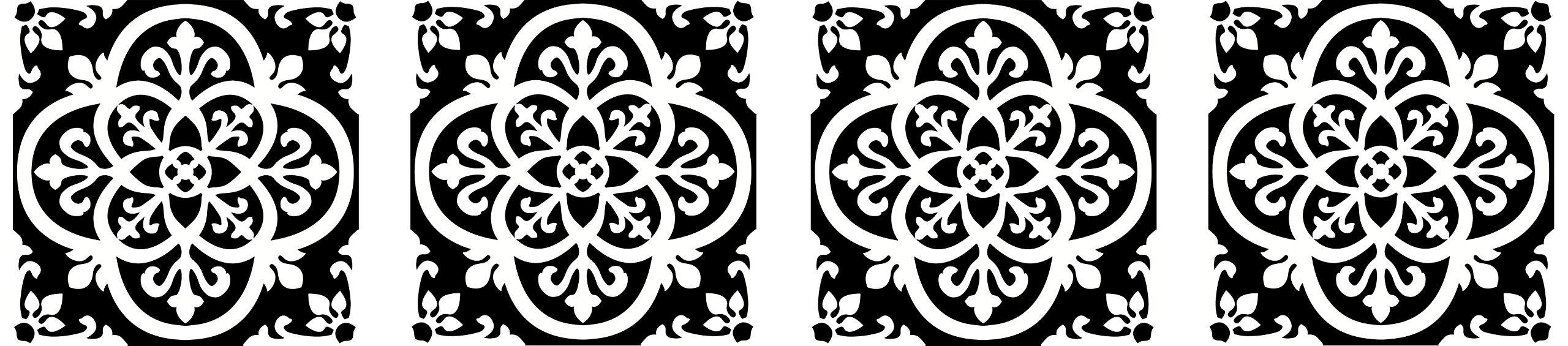 FloorPops FP2475 Gothic Peel & Stick Tiles Floor Decal Black (Fоur Расk) by FloorPops (Image #1)