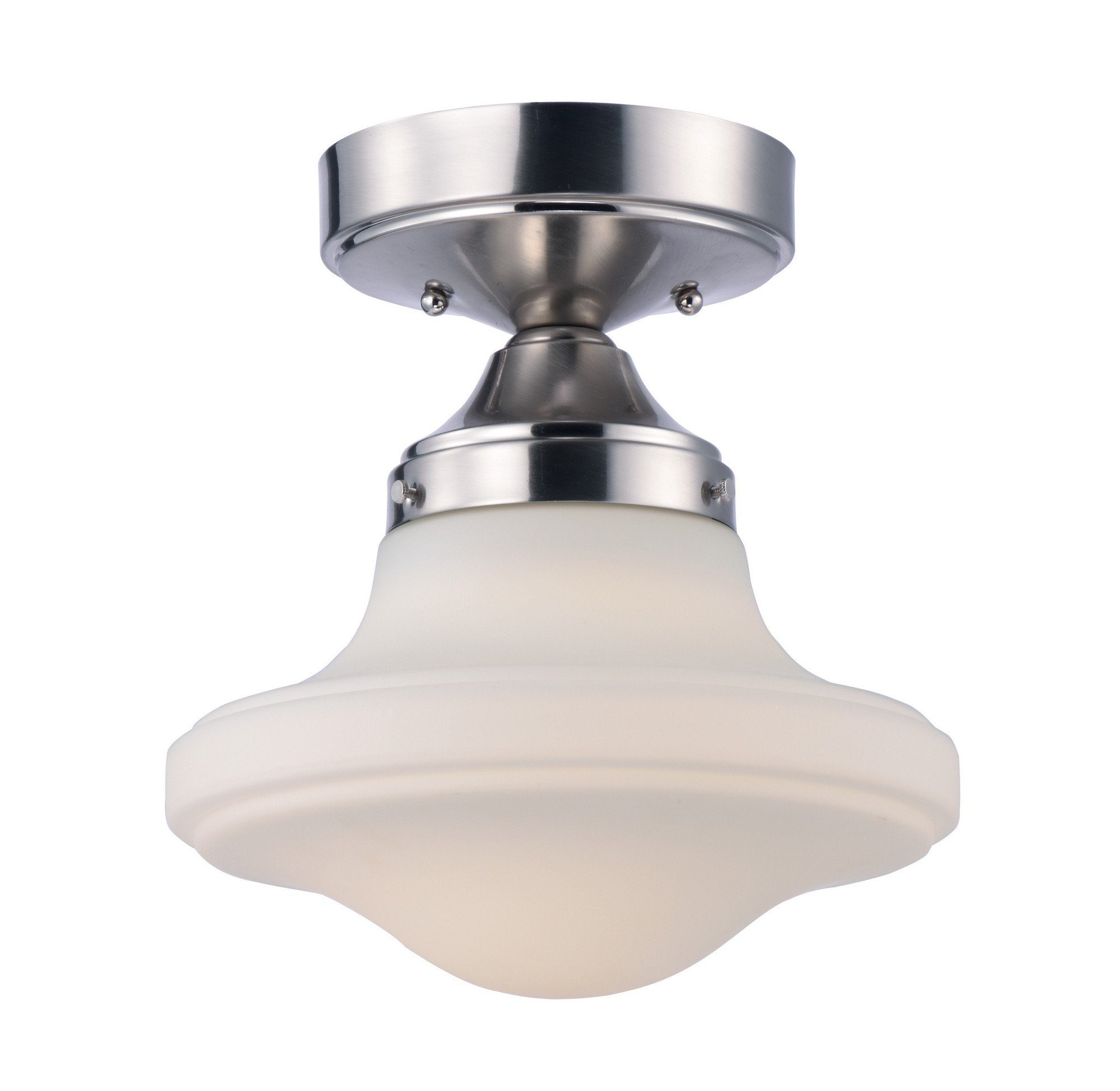 Maxim 30240SWSN New School LED Flush Mount, Satin Nickel Finish, Satin White Glass, PCB LED Bulb , 0.288W Max., Damp Safety Rating, Shade Material, Rated Lumens