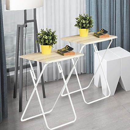 Aingoo Folding TV Trays 2 Pcs Small Snack Metal Dinner Tray Side Table Wood  Printed Beige