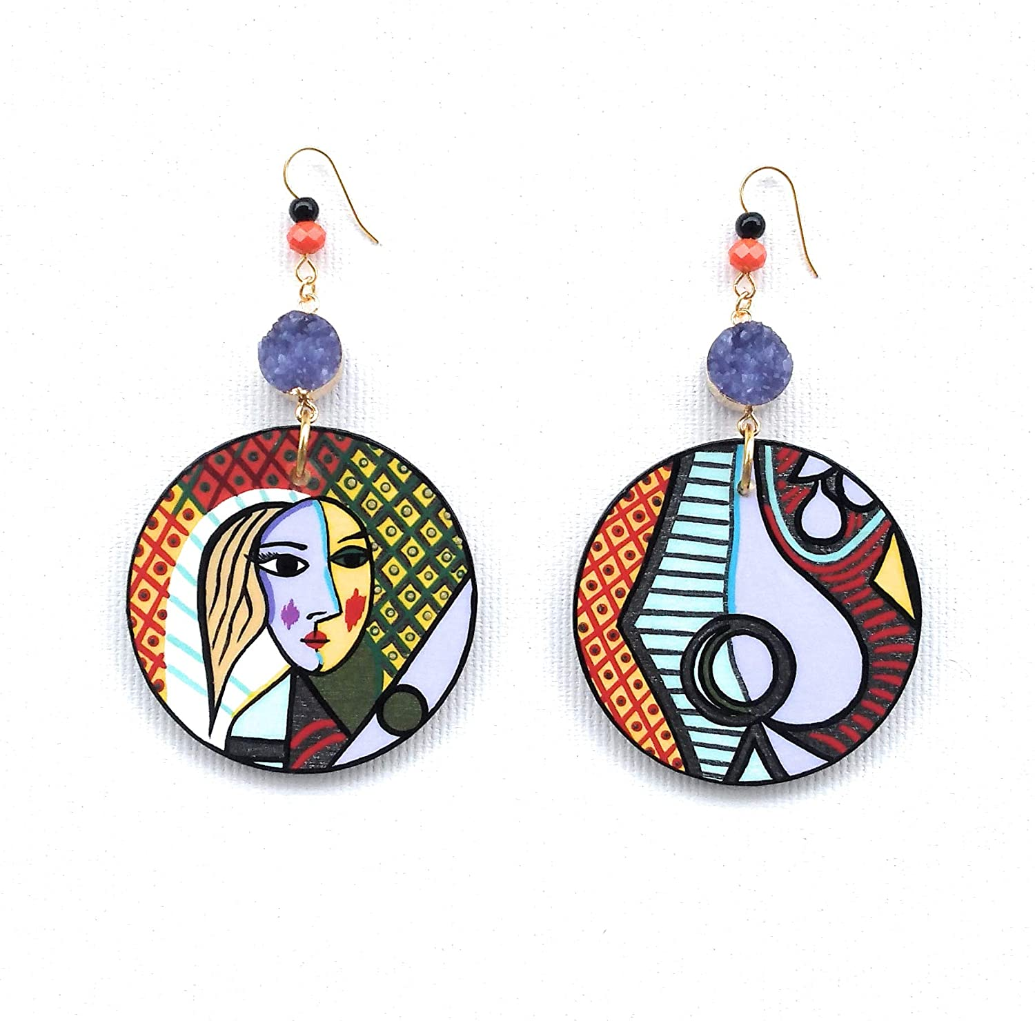 Handmade And Painted Tribal unique earrings