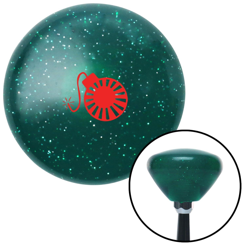 Red Rising Sun Bomb Green Retro Metal Flake with M16 x 1.5 Insert American Shifter 292133 Shift Knob