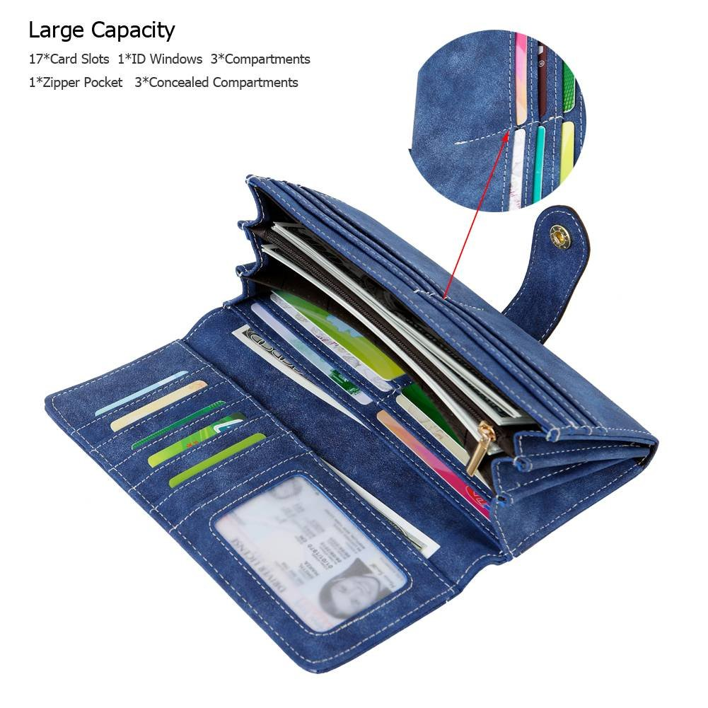 Women's Vegan Leather 17 Card Slots Card Holder Long Big Bifold Wallet,Navy by Cynure (Image #2)