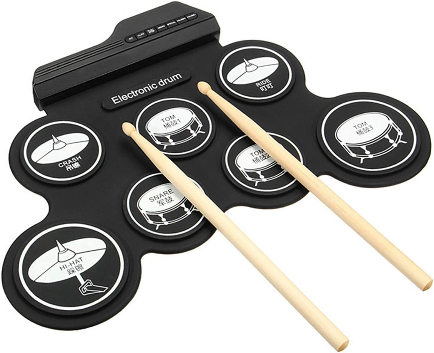 Electronic Drum Set Foldable,7 Pads Stereo Electronic Drum Kit Portable Roll up Drum Pad,USB//Battery Charge for Kids and Beginners