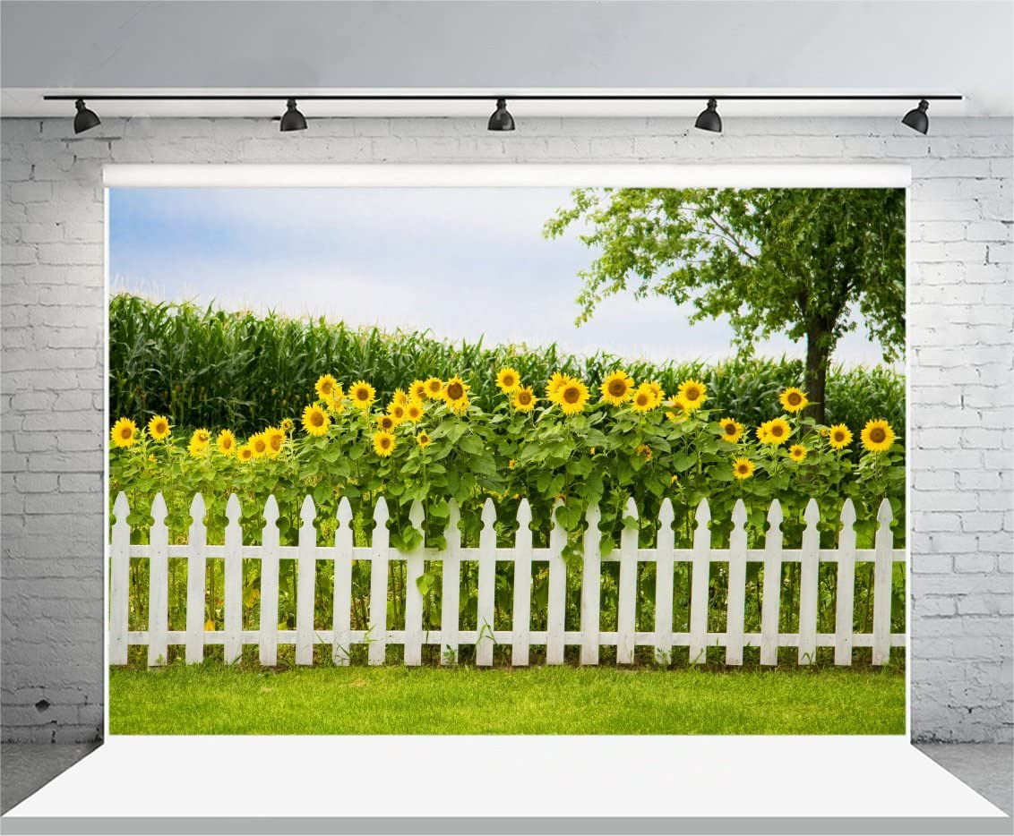 Laeacco 7x5FT Vinyl Backdrop Sunflowers Fence Photography Background Blossoms Yellow Flowers Cornfield Green Tree White Picket Fence Decorative Grassland Nature Background Children Girls Portrait