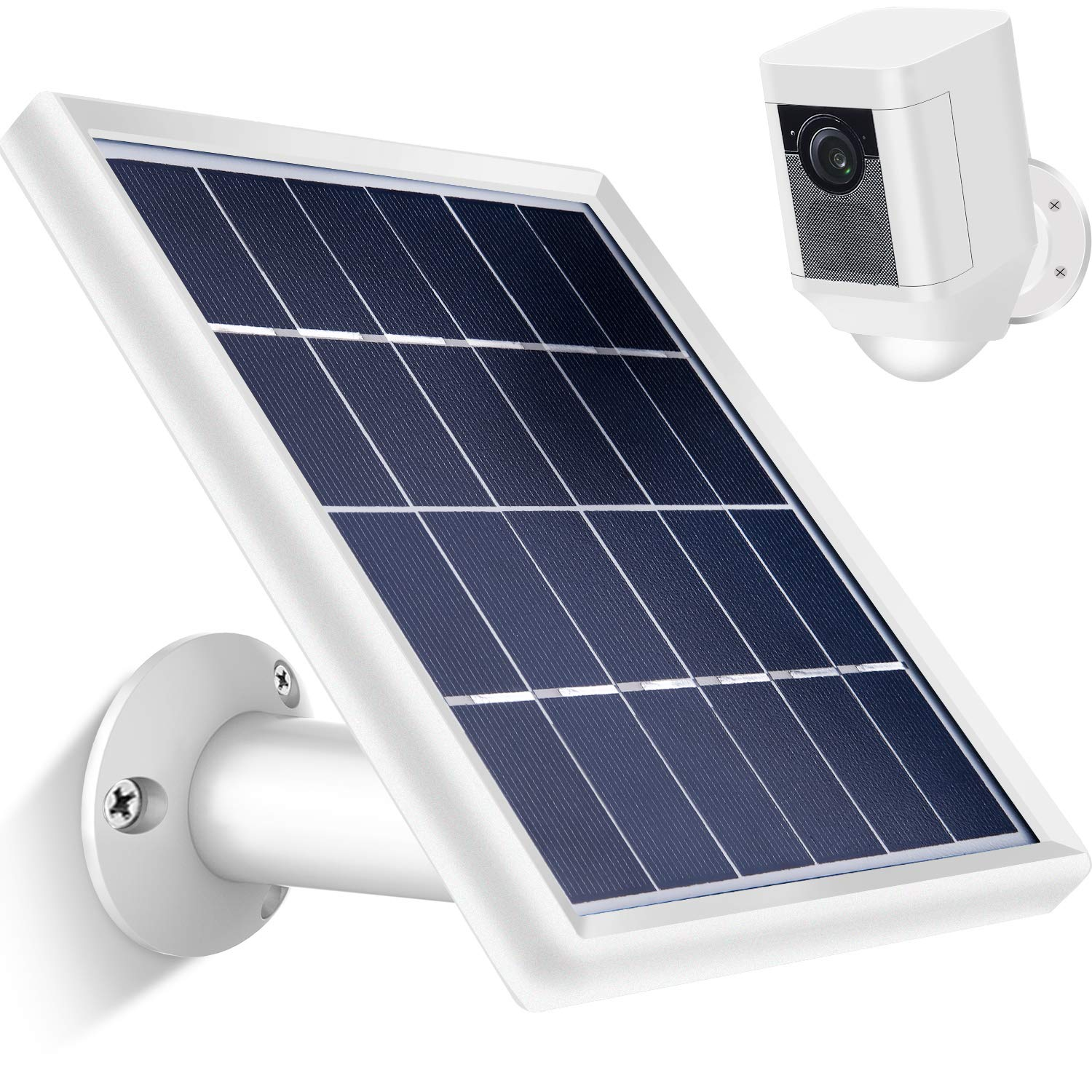 Skylety Solar Panel for Ring Spotlight Cam with Security Wall Mount, 3.6 m/ 11.8 ft Cable with Barrel Connector, 5 V/ 3.5 W (Max) Output (Not for Stick Up Cam/Arlo Cam Series) Without CAM (White) by Skylety