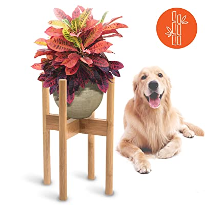 """MAKE FAVE Bamboo Mid Century Plant Stands - Adjustable 8-12"""" Width Indoor Pot Holder for Window, Corner or Floor - Expandable Raised Plant(Natural Brown) : Garden & Outdoor"""