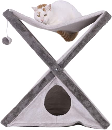 Foldable Cat Tower Tree Plush Folding House with a Cozy Condo Fuzzy Ball Scratching Pad Hammock