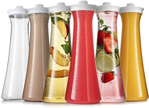 Carafes for Mimosa Bar - Plastic Carafe Water Pitcher - Pitcher with Lid and Spout Clear Juice Containers with lids for Fridge - BPA Free Party Drink Pitcher - Not Dishwasher Safe (6 Pack 32 Oz)