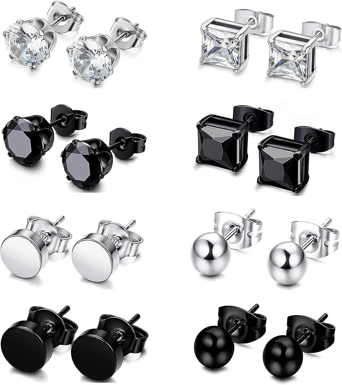 Sailimue 4 Pairs Stainless Steel Stud Earrings for Men Women Cubic Zirconia Earrings Set Ear Piercing Jewelry,3-8mm