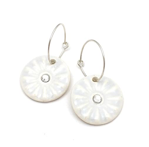 28e2228b804165 Amazon.com  Ice Blue and White Porcelain Earrings with Swarovski Crystals   Handmade