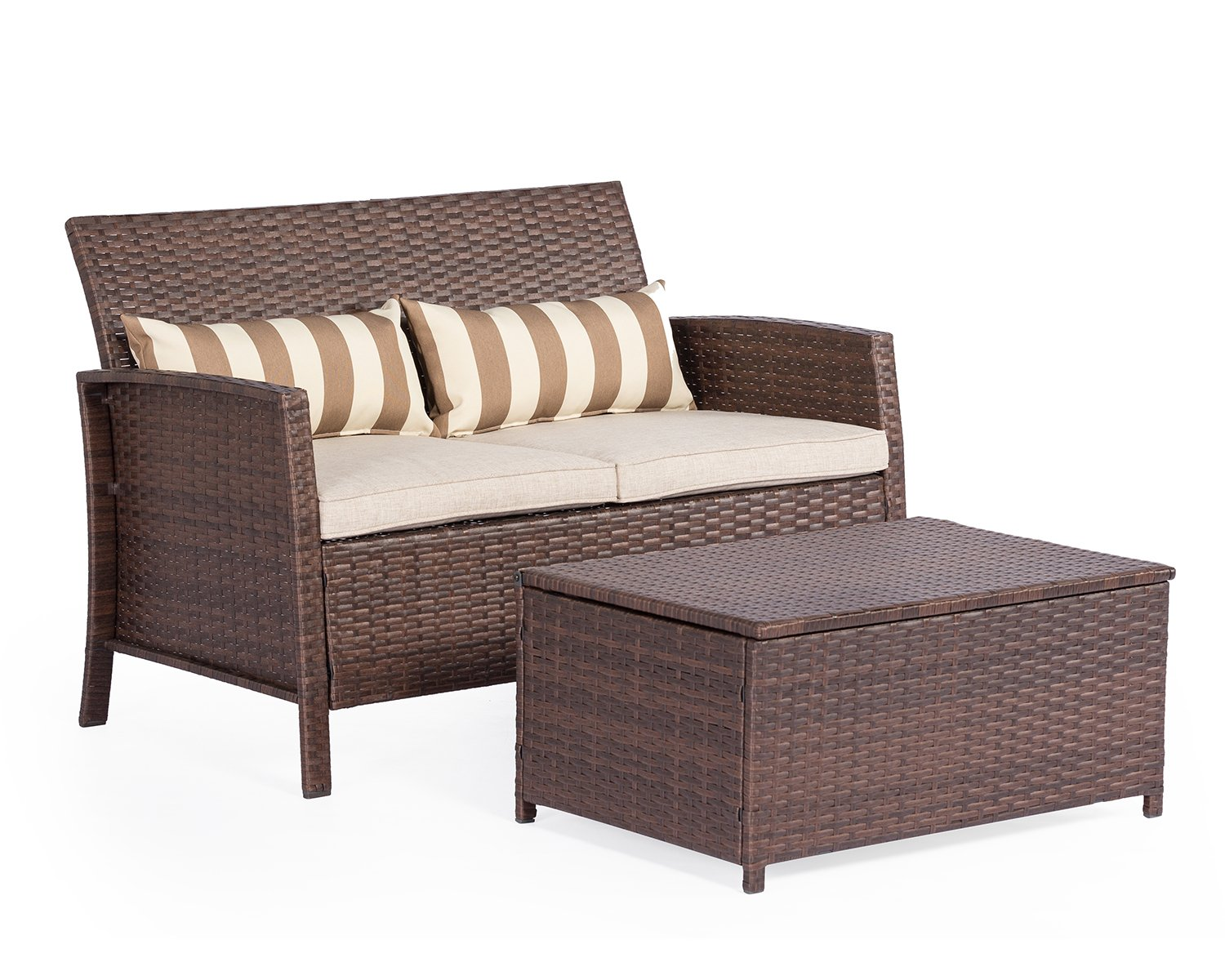 Solaura Outdoor Furniture Brown Wicker Patio Sofa (Seats 3) Light Brown Cushions & Classic Gold Stripe Throw Pillows Solaura Patio