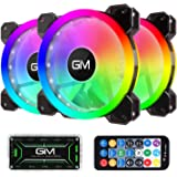 GIM KB-23 RGB Case Fans, 3 Pack 120mm Quiet Computer Cooling PC Fans, Music Rhythm 5V ARGB Addressable Motherboard SYNC/RC Co