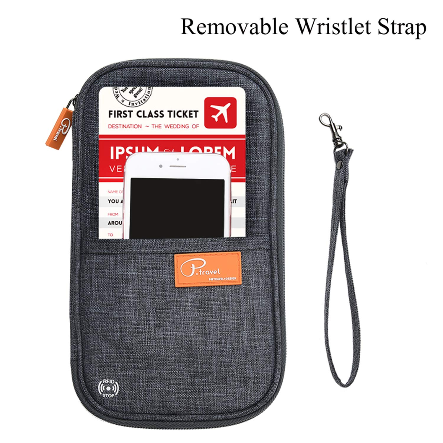 RFID Blocking Travel Passport Wallet Family Passport Holder Credit Card Ticket Document Organizer Bag with 3pcs luggage Tags (Grey) by Marcoon (Image #2)