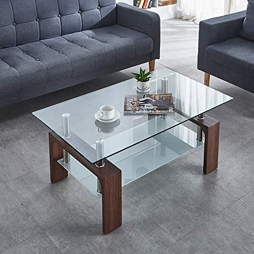 Paddie Glass Coffee Table Rectangle Modern