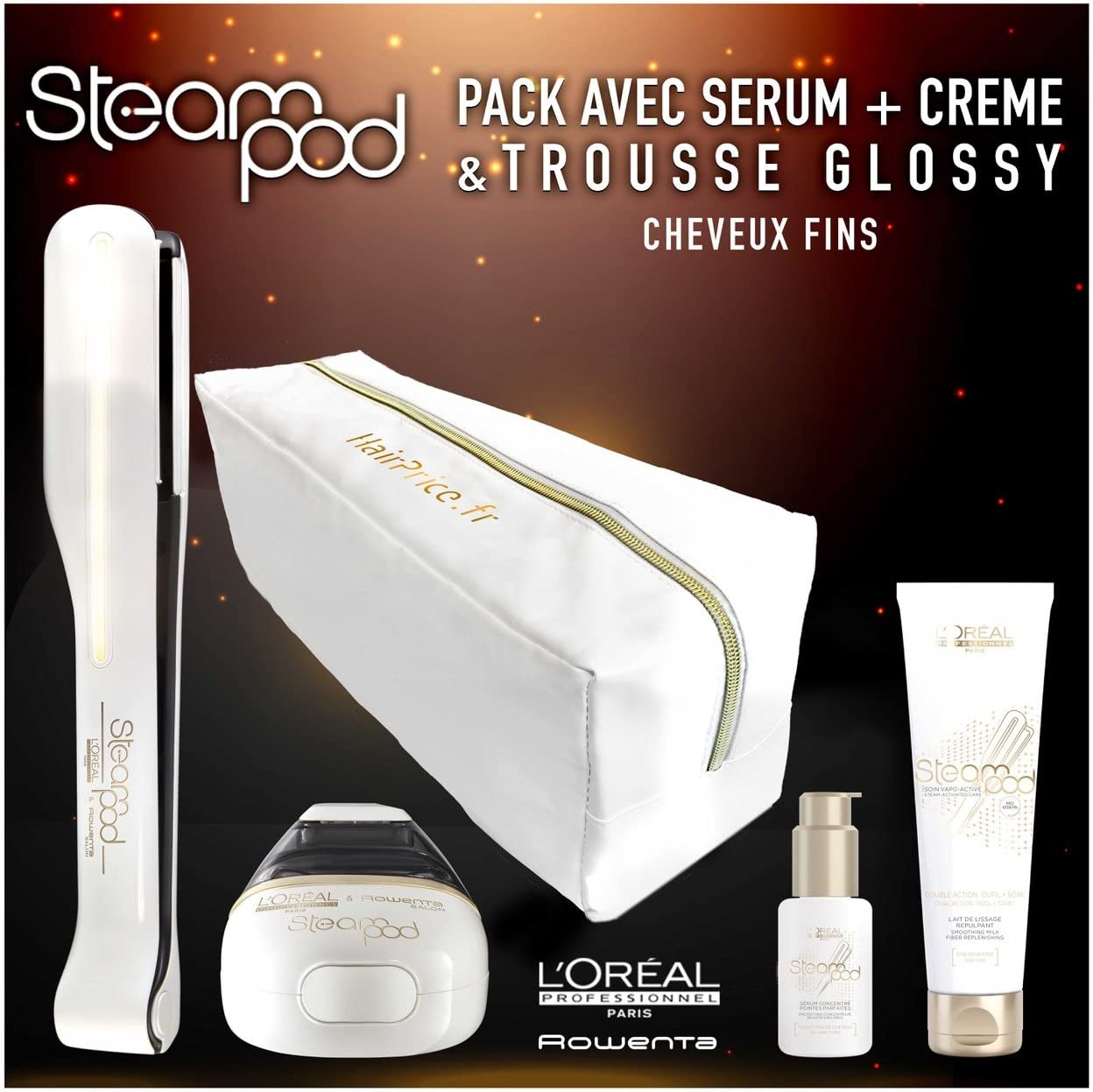 L'Oreal - Pack de plancha de vapor para el pelo Steampod 2.0 con sérum, leche alisadora para cabello fino y neceser de almacenamiento brillante