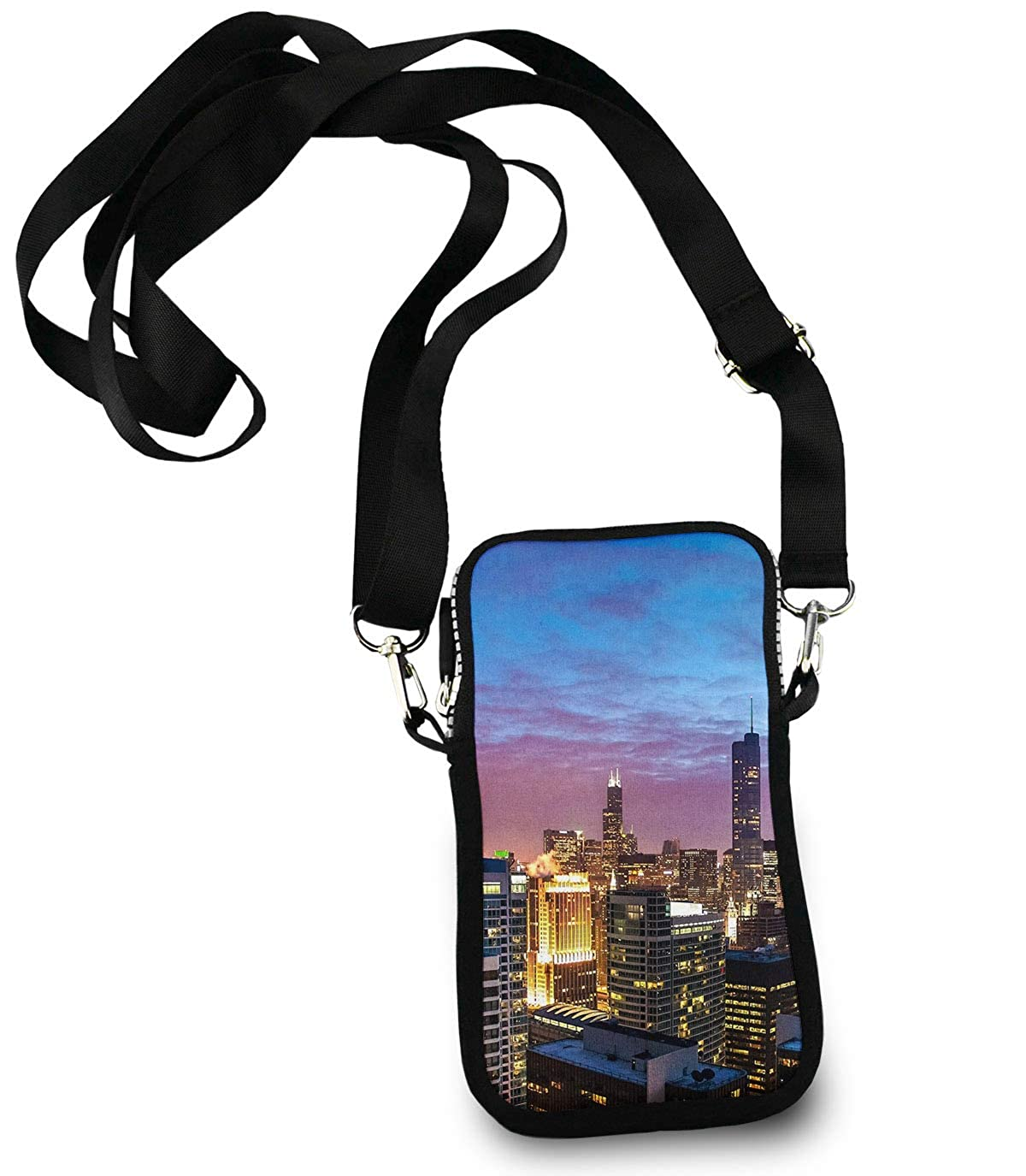 Unisex Small Crossbody Bag Cell Phone Purse Wallet Headphone Bag USA Chicago Skyline Night View
