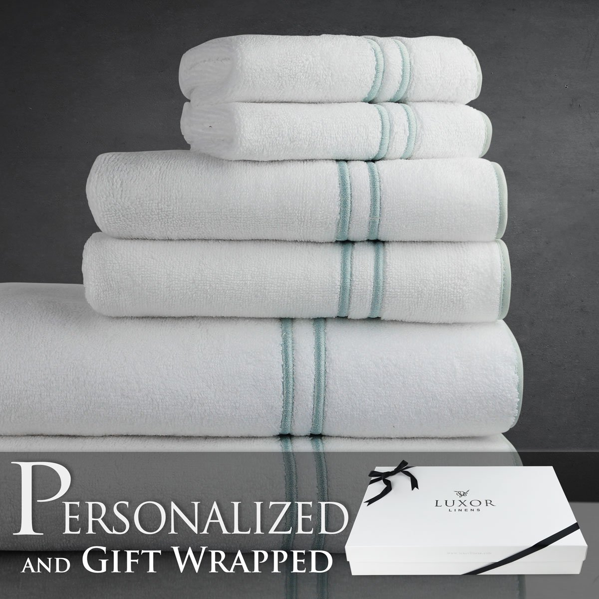 Luxor Linens Turkish Towels Varese Collection Egyptian Cotton 6-Piece Towel Set - Seafoam - Mr. & Mrs. - Signature Gift Packaging Included! The Perfect Wedding Gift! by Luxor Linens