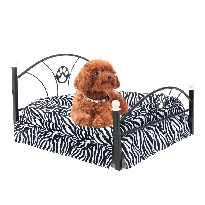 yhuisen camas de mascota Perro/Gato perro de la perrera mascota cama caliente suave cojín upscale Metal marco cebra colchón cama (cebra): Amazon.es: ...