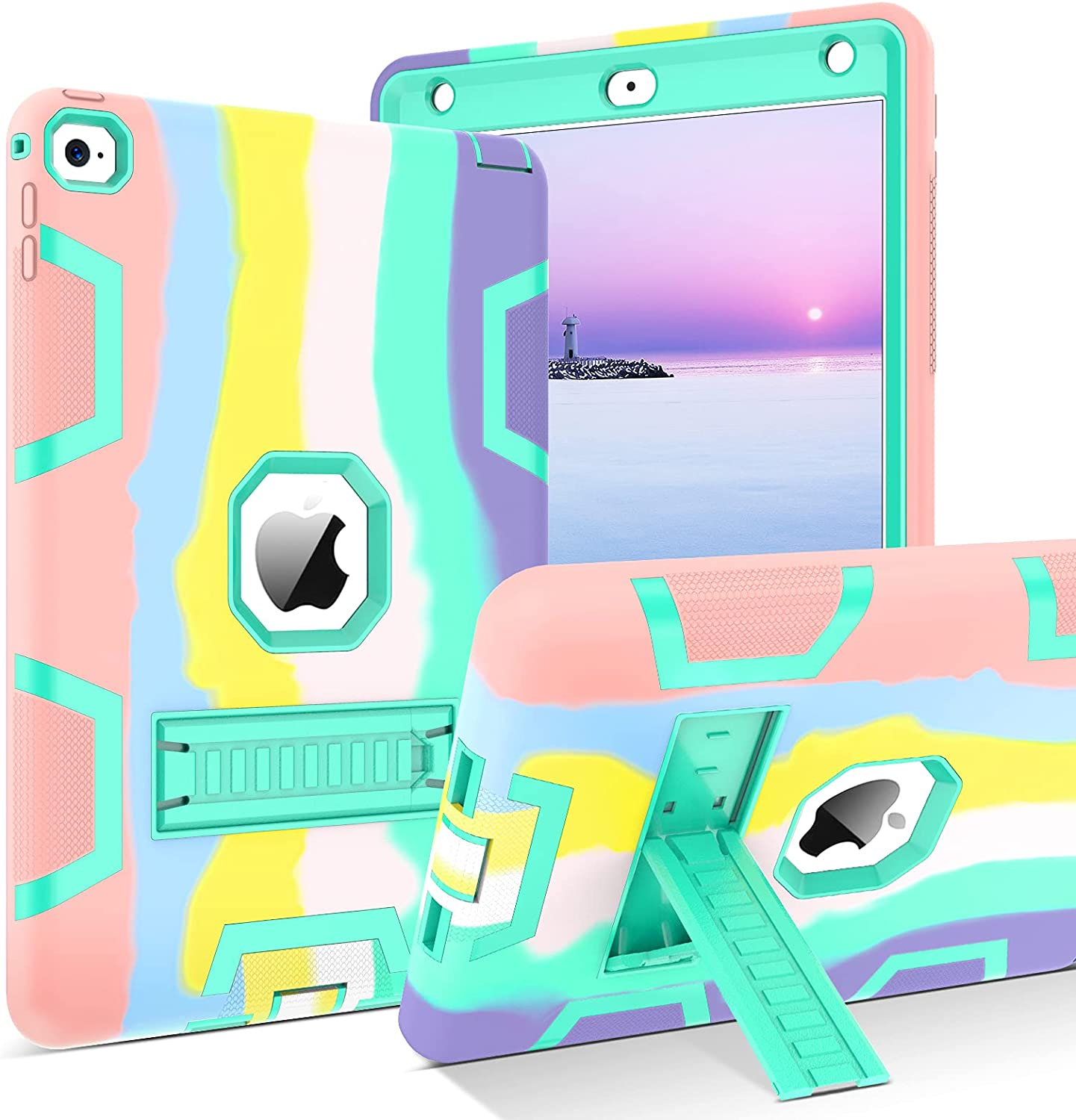 BENTOBEN iPad Air 2 Case, 3 in 1 Hybrid Heavy Duty Rugged Shockproof Kickstand Sturdy Protective Girls Women Boys Men Kids Cute Tablet Case Cover for Apple iPad Air 2 9.7
