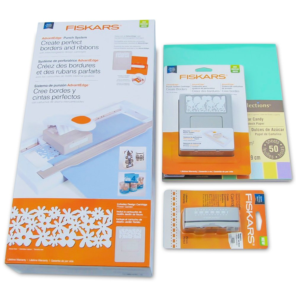 Fiskars AdvantEdge Punch System Starter Set Four Piece bundle