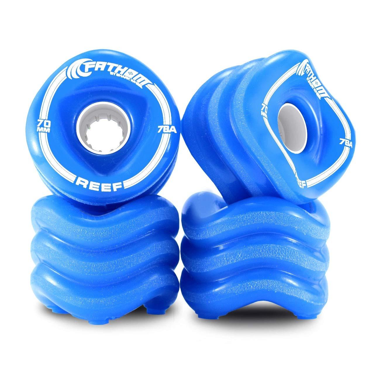 Shark Wheel 70MM Reef 4-Piece Innovative Skateboard Wheel Set, Blue by Shark Wheel