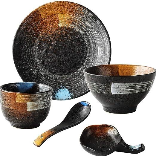 Qifengshop Juego de vajilla de cerámica Retro Vintage de ...