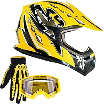 #1, M Youth Kids Offroad Gear Combo Helmet Gloves Goggles DOT Motocross Off-Road Racing ATV Dirt Bike Protector