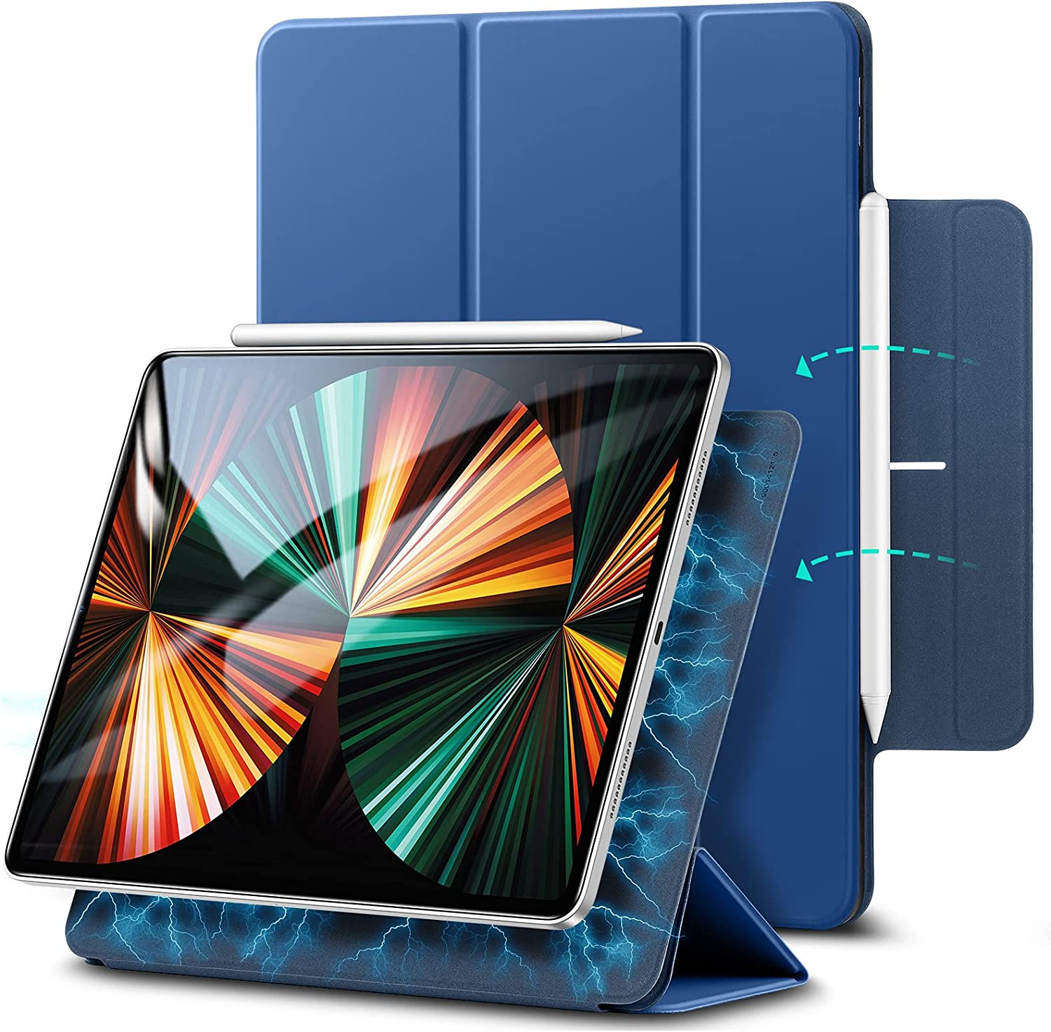 ESR Rebound Magnetic Case Compatible with iPad Pro 12.9 Inch 2021 (5th Generation), Smart Case with Convenient Magnetic Attachment, Auto Sleep and Wake, Pencil 2 Support, and Trifold Stand – Blue