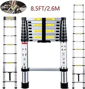 Escalera telescópica EN131 ligera de aluminio telescópico, carga máxima de 330 libras, escaleras de extensión de Nineaccy para el hogar, al aire libre y negocios, etc. [Paso A +++]: Amazon.es: Bricolaje y