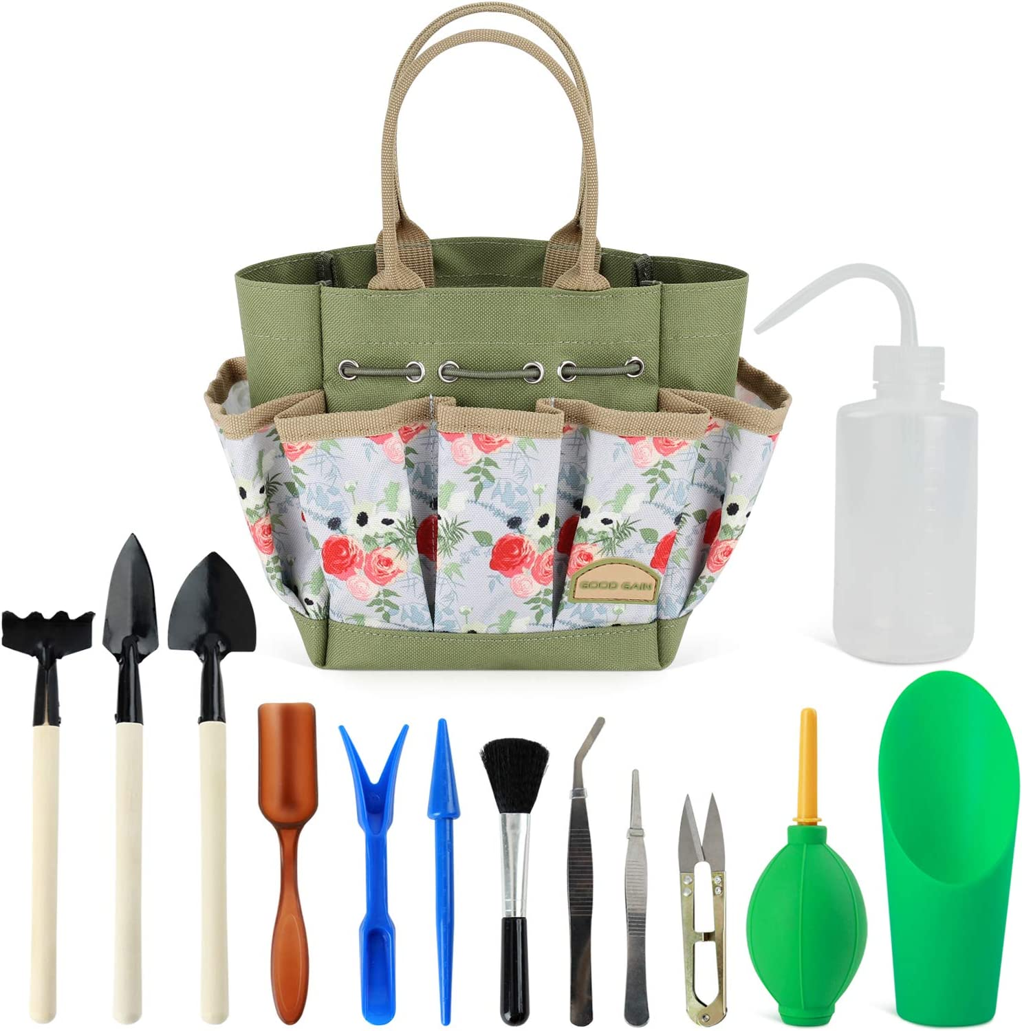 Good GAIN Garden Succulent Kit with Organizer Bag,Indoor Mini Hand Gardening Tool Set, 14 Pieces Tools for Bonsai Planter Miniature Fairy Planting Care
