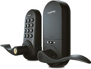 Hugolog Deadbolt Lock Electronic,Keyless Entry Keypad Door Lock with Handle, Easy to Install Digital Door Knob High Security Material for Metal Home & Office Black
