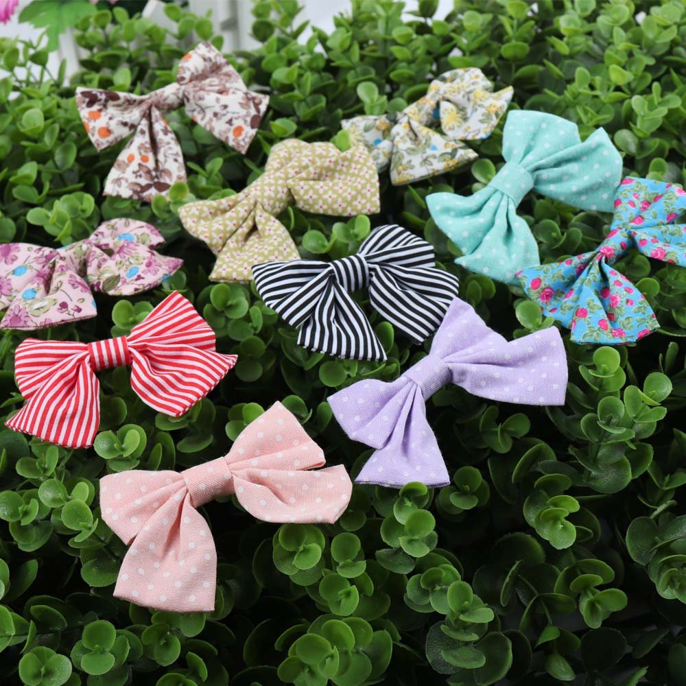 Oaoleer 10pcs 3.5'' Fabric Ribbon Hair Bows with Clips for Baby Toddler Girls Teens by Oaoleer (Image #7)