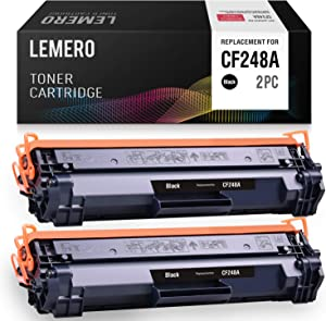 LEMERO Compatible Toner Cartridge Replacement for HP 48A CF248A for Laserjet Pro M15w M15 M16a M16w Laserjet Pro MFP M29w M29a M28w (Black, 2-Pack)