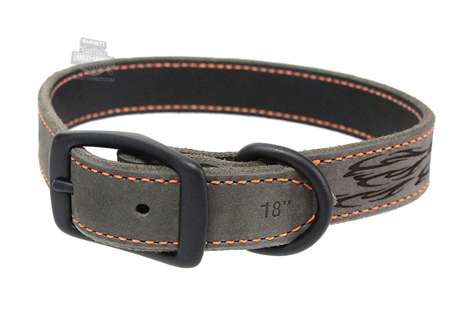 Harley-Davidson Lazered Flames Rustic Leather 1 Leather Pet Collar20