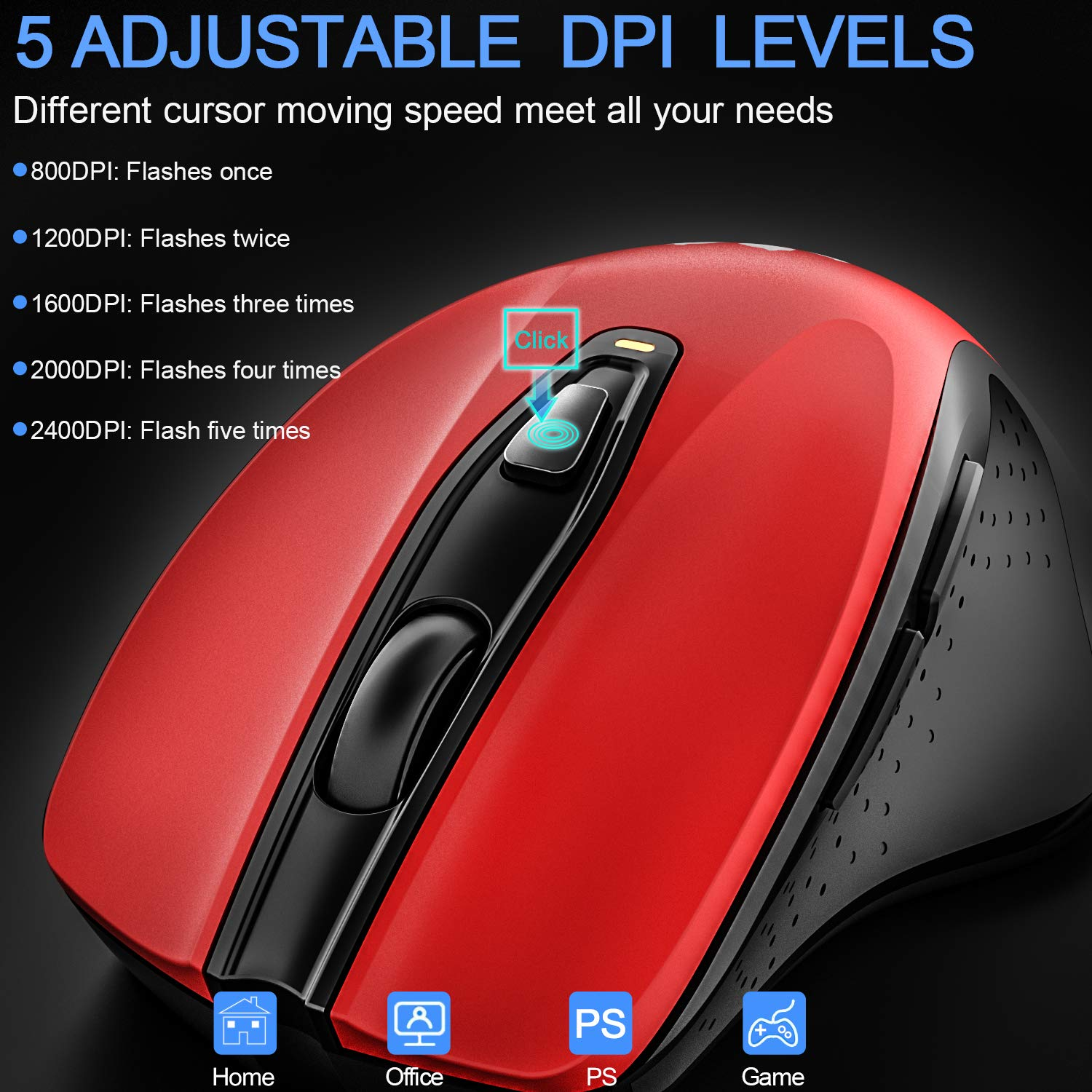 2.4G Wireless Mouse Portable Mobile Optical Mice with Nano USB Receiver 2400DPI 6 Buttons for Notebook PC Laptop Computer MacBook, Red