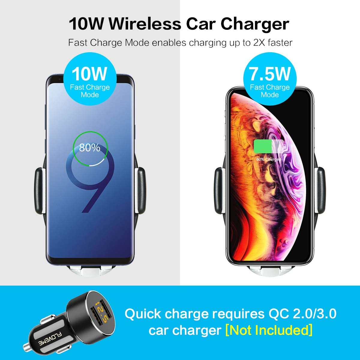 Wireless Car Charger with Touch Sensitive Clamp FLOVEME 10W Fast Wireless Car Charger Mount Phone Holder Qi Wireless Car Charger Compatible for iPhone Xs Max XR X 8 8 Samsung S10 9 8 Note 9 and More