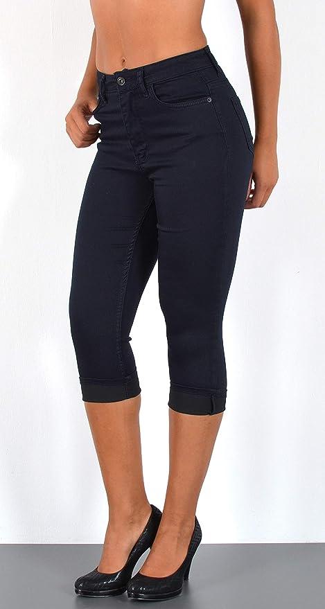 ESRA Damen Capri Jeans Hose Risse Kurze Jeans mit Blumenstickerei Hose Capri bis /Übergr/ö/ße J324