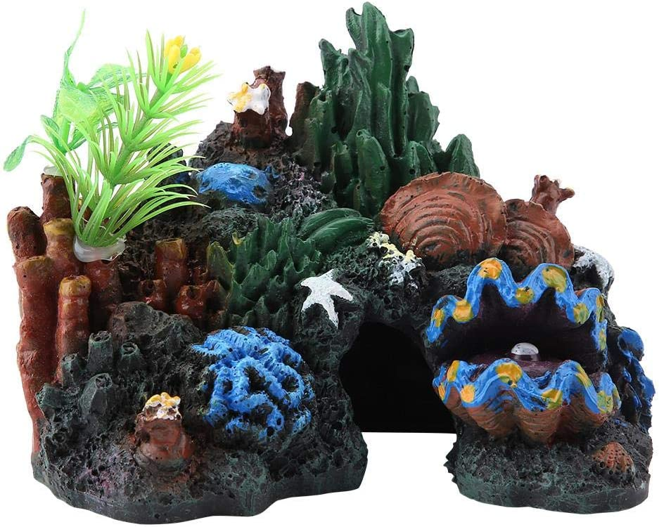 Aquarium Ornament Artificial Resin Coral Seaweed Shell Floating Moss Stone House FLOX Artificial Resin Small Coral Aquarium Ornament