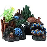 Pssopp Colorido Resina Artificial Arrecife de Coral Cueva Decoración para Peces de Agua Salada Peces Marinos Peces de…