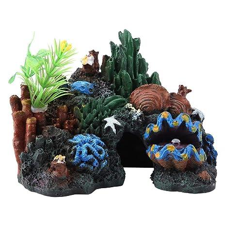 Pssopp Colorido Resina Artificial Arrecife de Coral Cueva Decoración para Peces de Agua Salada Peces Marinos