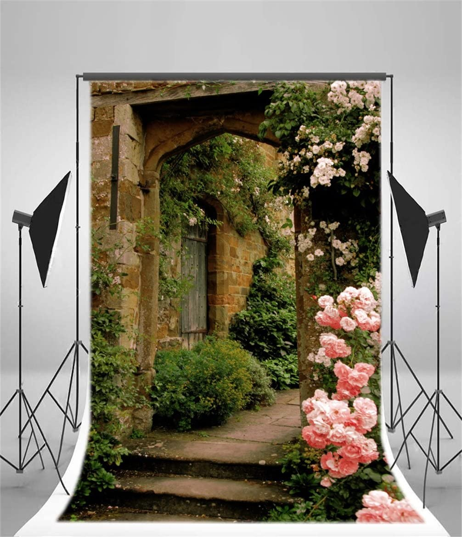 AOFOTO 6x8ft Vintage Garden Flowers Backdrop Blossoms Photography Background Medieval Castle Shabby Brick House Girl Adult Artistic Portrait Travel Photo Shoot Studio Props Video Drop Wallpaper Drape