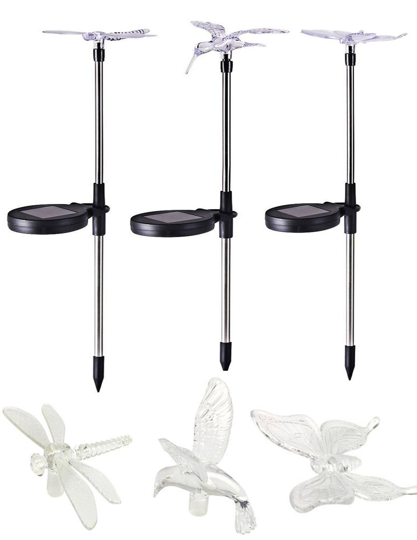 Solar Garden Lights - Crystal Upper Stake with Built in Multi-Color Changing LED 3 Pack (Butterfly, Hummingbird, Dragonfly) Landscape Lights for Garden, Patio, Pathway Lawn Backyard, Garden Decor USA