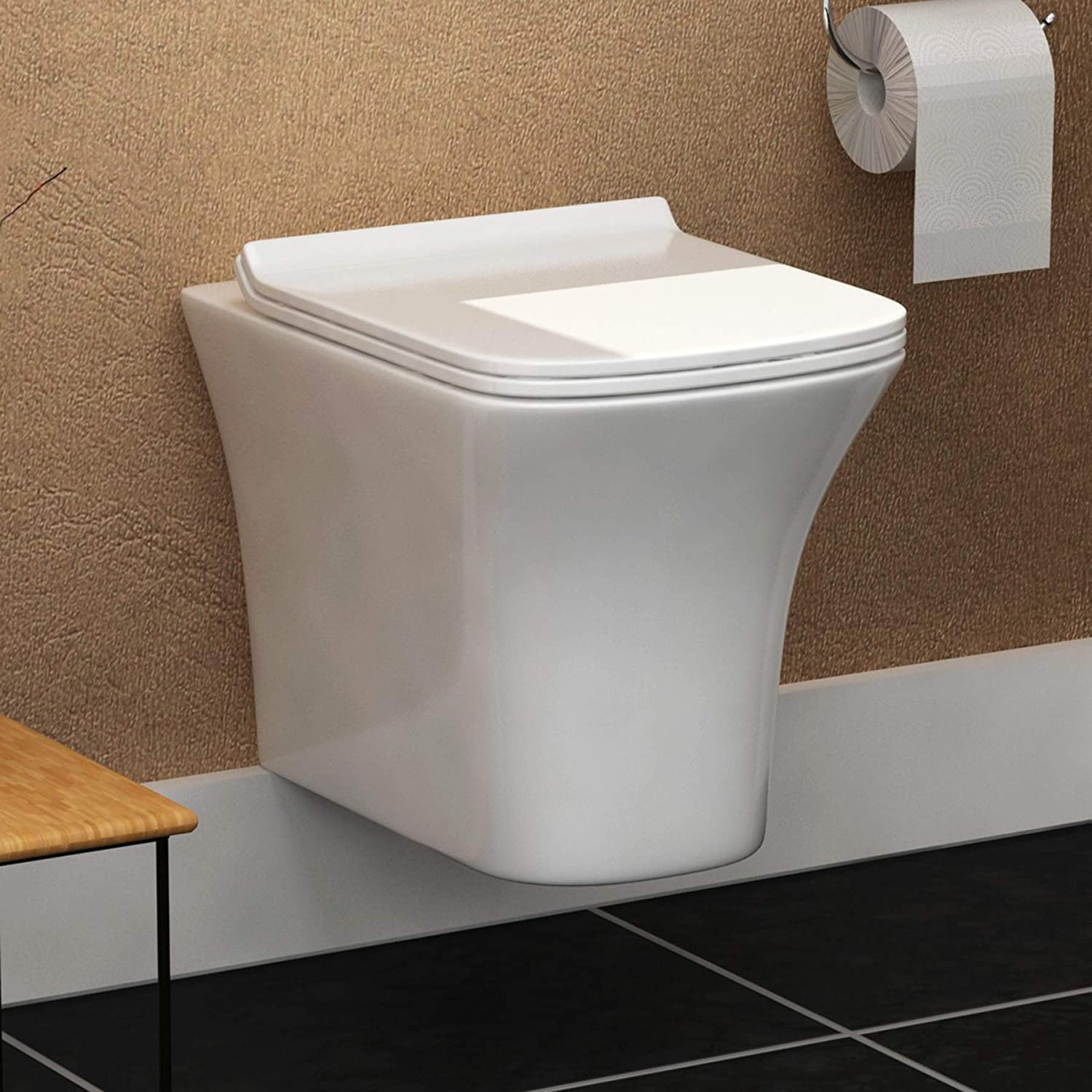Modern 340mm Bathroom Short Projection Wall Hung Pan Rimless Toilet with Soft Close Seat