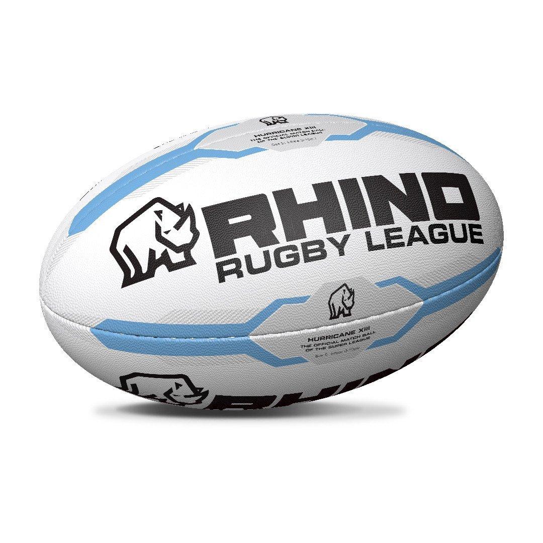 Rhino Hurricane XIII RUGBY League Balle blanc/bleu clair taille