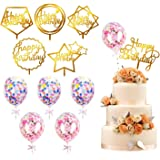 kortes 12 Pack Gold Birthday Cake Topper Set, 6 Pattens Acrylic Cake Topper with 6 Pcs Confetti Balloon Happy Birthday…