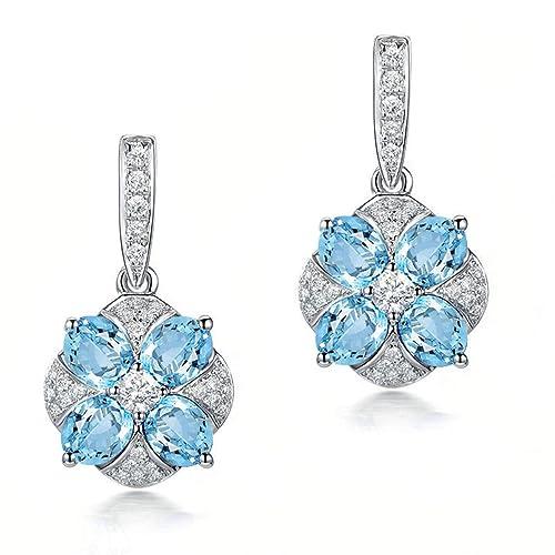 2e4b3f62f Pendientes de topacio azul con corte ovalado de plata de ley 925  hipoalergénicos para mujer, joyería de novia: Amazon.es: Joyería