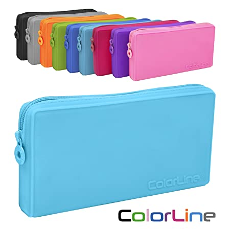 Colorline 58711 - Portatodo Plano de Silicona, Estuche Multiuso para Viaje, Material Escolar, Neceser y Accesorios. Color Azul Claro, Medidas 21 x ...